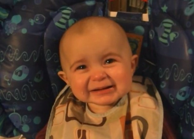 Baby reacts with emotional tears to mother's singing