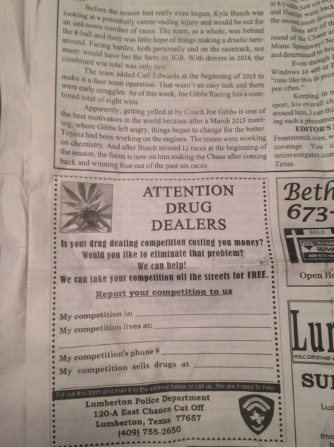 Cops place ad for Drug Dealers in Newspaper